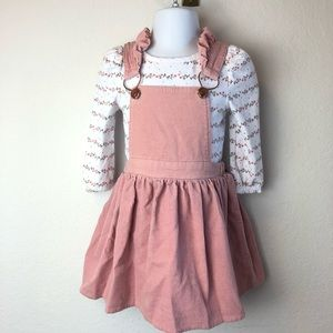 Nannette Corduroy Overalls Jumper Dress Set 2T